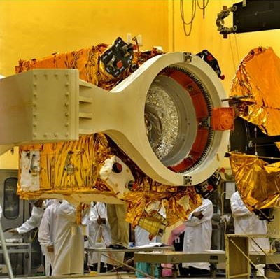 The Mars Orbiter Mission spacecraft during construction. Photo Credit: Indian Space Research Organization (ISRO)
