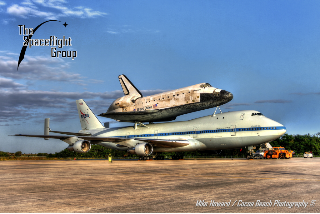 Space shuttle Discovery on Shuttle Carrier Aircraft SCA SLF Shuttle Landing Facility photo credit Mike Howard Cocoa Beach Photography