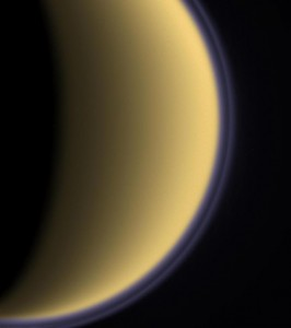 Titan's atmosphere, orange-yellow and opaque, contains a smorgasbord of organic chemicals.Image: NASA