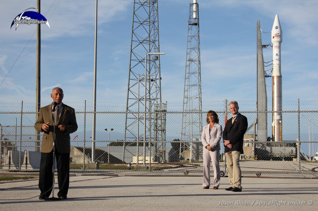 NASA Administrator Charles Bolden, at Cape Canaveral Air Force Station discusses the upcoming Mars Atmosphere and Voltile EvolutioN mission, set for launch on Monday November 18. He is joined in this image by Amanda Mitskevich, NASA Launch Services Program manager and Jim Sponnick, vice president of Atlas and Delta Programs for United Launch Alliance. Photo Credit: Jason Rhian / SpaceFlight Insider