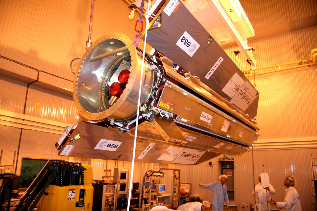 The GOCE spacecraft is prepped for launch back in 2009. Image Credit: ESA