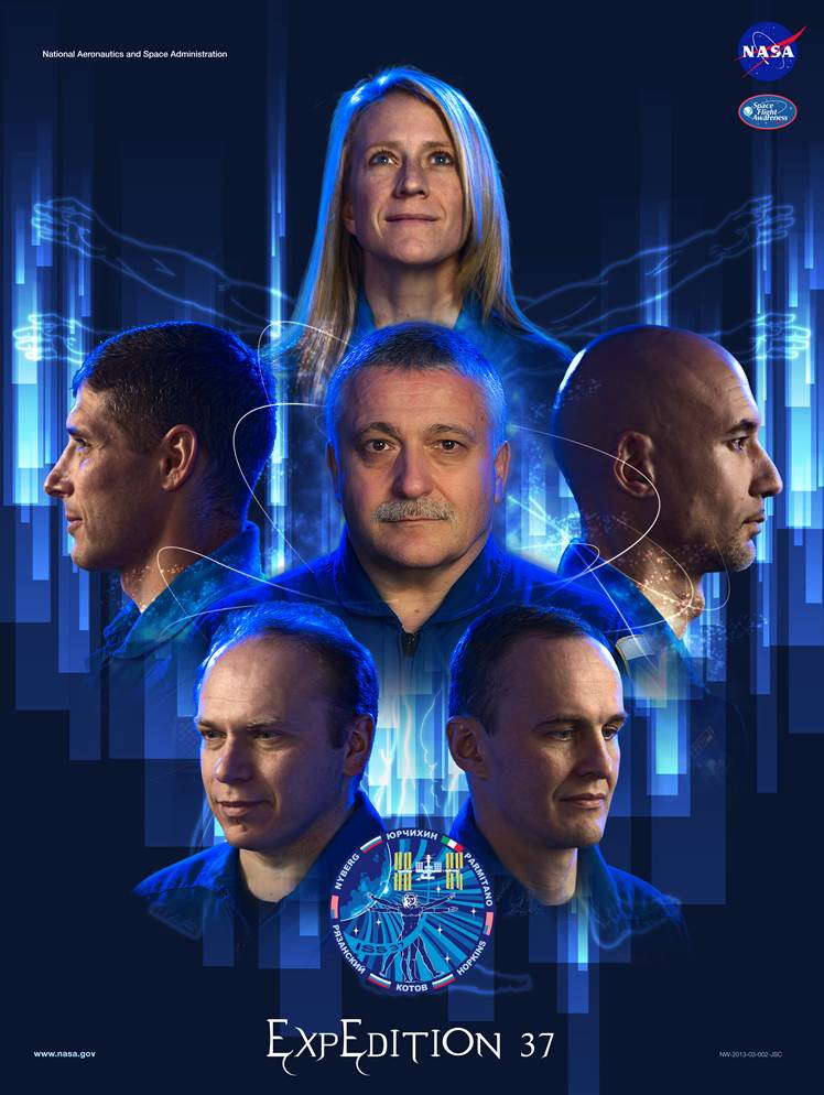 The Expedition 37 crew consists of, Commander  Fyodor Yurchikhin (center), Karen Nyberg (top), Luca Pamintano  (center right), Oleg Kotov (lower left), Sergey Ryazanskiy (lower right) and Michael Hopkins (center left). Image Credit: NASA