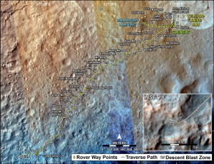 A map showing the distance Curiosity has traveled since landing through Sol 455 (Nov. 16, 2013). Image credit: NASA/JPL-Caltech/Univ. of Arizona