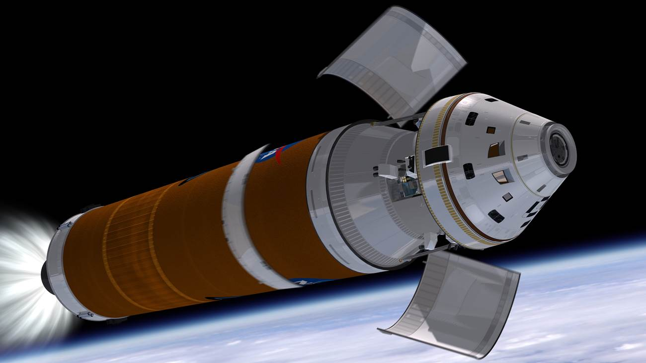 The Orion which will fly the Exploration Flight Test 1 mission in September of next year will use a United Launch Alliance Delta IV Heavy rocket to conduct the spacecraft on the first leg of its journey. Image Credit: NASA