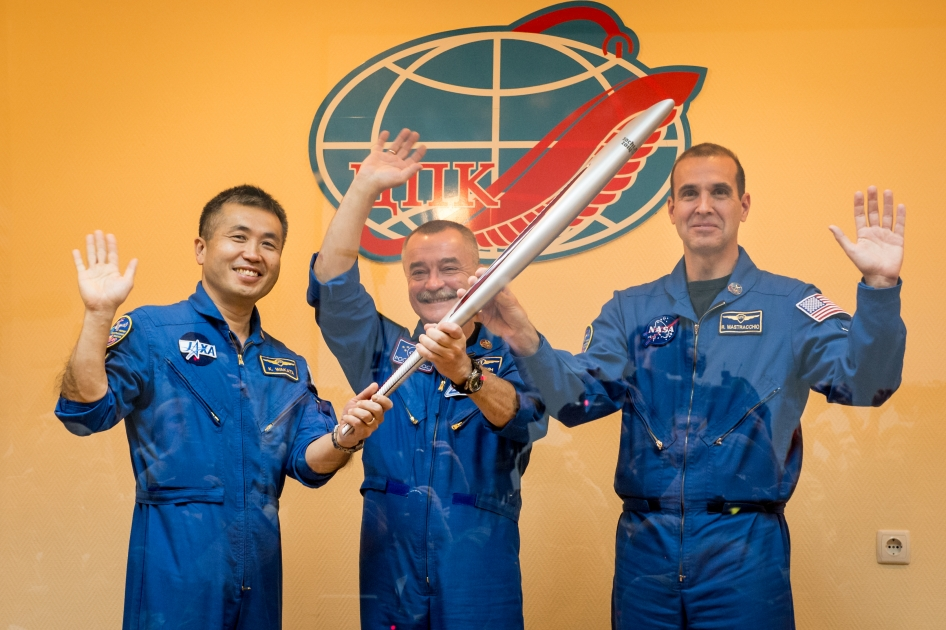 Expedition 38 crew members, Mikhail Tyurin, Rick Mastracchio and Koichi Wakata delivered the Olympic Torch to the International Space Station on Nov. 7. Photo Credit: NASA