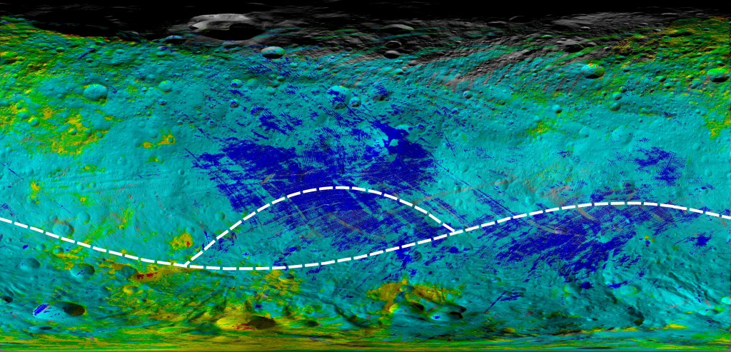 This colorized map from NASA's Dawn mission shows the types of rocks and minerals distributed around the surface of the giant asteroid Vesta. In this color scheme, red shows diogenite, a type of mineral thought to be formed through magmatic processes deep in the crust. Green shows howardite, a type of surface rock that is made of broken bits of different materials that are excavated, ejected and mixed by meteor impacts. These types of rocks are the most abundant observed on Vesta's surface. Blue shows eucrite, a type of rock formed in the crust of Vesta that isn't as deep down as diogenite. For example, Vesta's equatorial region is replete with eucrites. Yellow areas show regions with diogenite and howardite. The yellow and red areas have large quantities of the magnesium-and silicate-rich mineral diogenite, especially in the southern hemisphere. Cyan areas show regions with eucrite and howardite. Many howardite, eucrite and diogenite meteorites have been found on Earth, and earlier work from Dawn confirmed theories that they came from Vesta. Image Credit: NASA/JPL-Caltech/UCLA/ASI/INAF