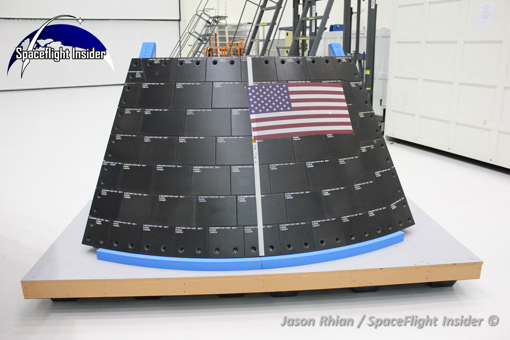 One of the key elements of the Orion spacecraft which will be tested out during the September 2014 flight - will be the heat shield which will protect crews from the extreme heat of reentry. Photo Credit: Jason Rhian / SpaceFlight Insider