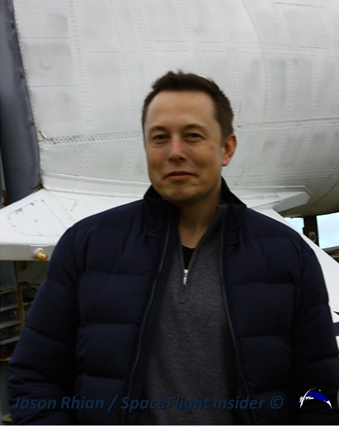 SpaceX founder, Elon Musk, attended the first launch attempt and could be seen inspecting the Navajo rocket on display in front of one of Cape Canaveral's entrances. Photo Credit: Jason Rhian / SpaceFlight Insider