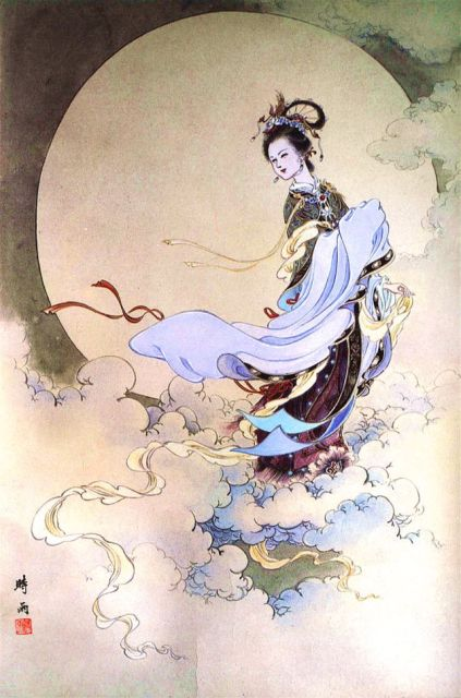 Artwork depicting the ascent of the mythological Chinese goddess Chang'e to the Moon. Next week, life will imitate art, with the launch of the Chang'e 3 lunar lander mission. Image Credit: Shi Yu