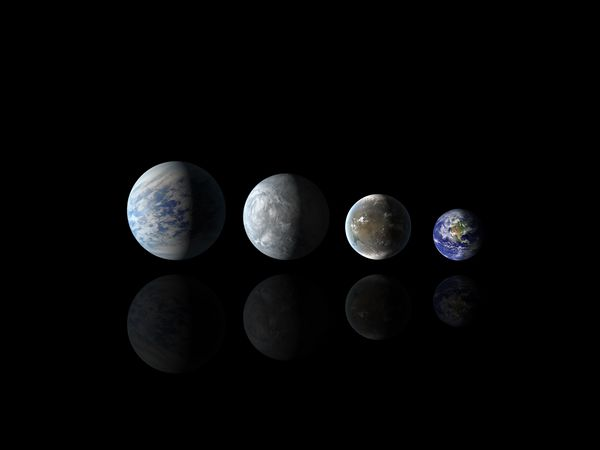 Relative sizes of habitable zone planets Kepler-69c, Kepler-62e, Kepler-62f, compared with Earth. Credit: NASA/Ames/JPL-Caltech.