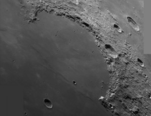Sinus Iridum as seen through a telescope. This will be the landing site for the upcoming Chang'e 3 mission. Image Credit: Alan Friedman.