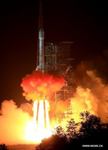 A Long March 3B rocket soars into the night, carrying the Chang'e 3 lunar lander to the Moon. Image Credit: CCTV.
