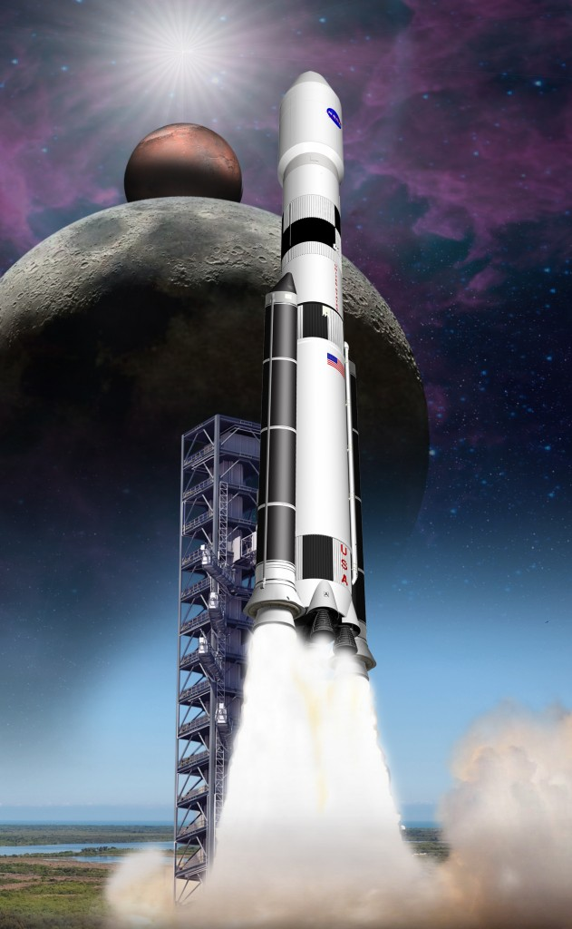 "ATK will utilize composite-based materials on NASA's next-generation heavy-lift booster, the Space Launch System or ""SLS."" Image Credit: ATK"