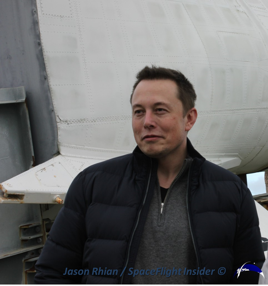 SpaceX founder Elon Musk posed for pictures and answered questions from the media during the Monday, Nov. 25 launch attempt. Photo Credit: Jason Rhian / SpaceFlight Insider